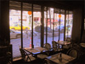 Aluminum blinds with taping in east Village restaurant
