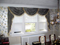Swags and solar shades for dining room windows in long Island, NY